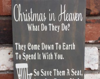 Christmas In Heaven - Wood Sign - Empty Chair - Memorial - Poem - Gray - White - Wooden Signs - Loss of loved one - Gift