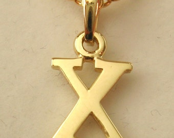 Genuine SOLID 9K 9ct YELLOW GOLD 3D Initial X Letter Pendant