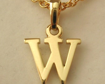 Genuine SOLID 9K 9ct YELLOW GOLD 3D Initial W Letter Pendant