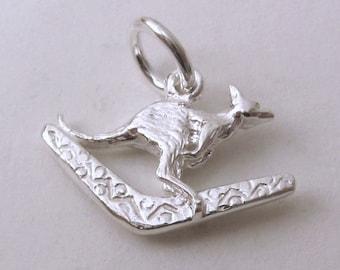 Genuine SOLID 925 STERLING SILVER 3D Kangaroo on Boomerang Australian Animal charm/pendant