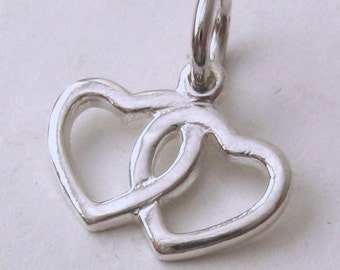 Genuine SOLID 925 STERLING SILVER Double Hearts Valentine charm/pendant