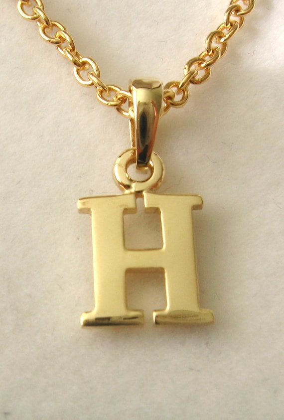 9ct Yellow Gold Rope Initial Pendant H New
