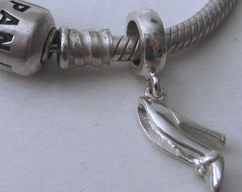 Genuine SOLID 925 STERLING SILVER Charm Bead with 3D High Heel Shoe drop