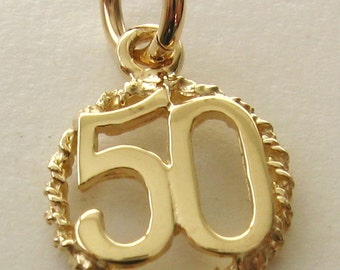 Genuine SOLID 9ct YELLOW GOLD 50 th birthday anniversary charm pendant