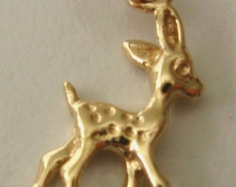 Bambi Deer Genuine Solid 9ct Yellow Gold Animal charm pendant