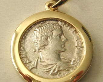 Genuine 9K 9ct Solid Gold Framed Ancient Solid SILVER ROMAN COIN Pendant
