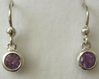 Genuine SOLID 925 Sterling Silver February Birthstone Round Amethyst Dangle Drop Earrings