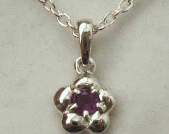 Genuine SOLID 925 Sterling Silver February Birthstone Daisy Amethyst Pendant