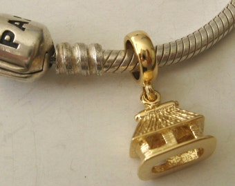 Genuine SOLID 9K 9ct YELLOW GOLD Charm Hut Drop Bead
