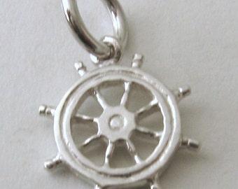Genuine SOLID 925 STERLING SILVER Ship wheel Helm charm/pendant