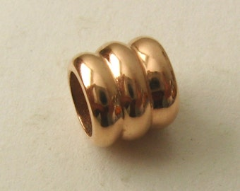 Genuine SOLID 9K 9ct ROSE GOLD Charm Serenity Three Ring Bead