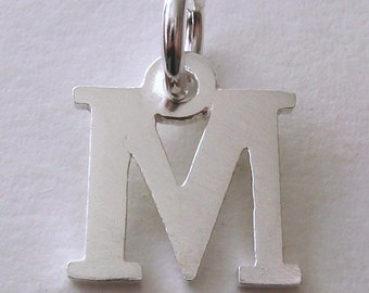 Genuine SOLID 925 STERLING SILVER 3D Initial M Letter Pendant
