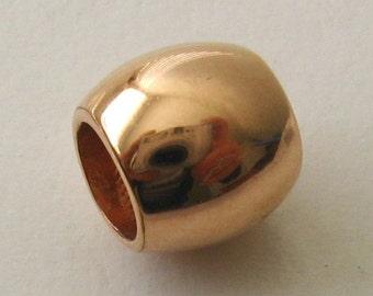 Genuine SOLID 9K 9ct ROSE GOLD Charm Serenity Shiny Bead