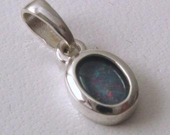 Genuine SOLID 925 STERLING SILVER Triplet Opal Pendant