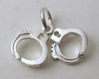 Genuine SOLID 925 STERLING SILVER 3D Hand Cuffs Police  charm/pendant