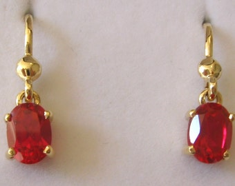 Genuine SOLID 9K 9ct YELLOW GOLD July Birthstone Ruby Earrings