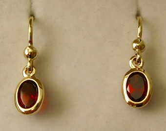 Genuine SOLID 9K 9ct YELLOW GOLD January Birthstone Garnet Dangle Drop Earrings