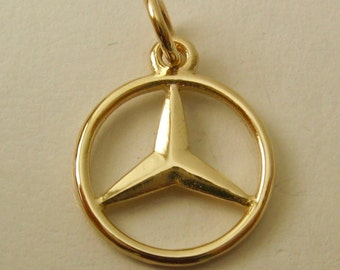 15 mm Genuine SOLID 9ct Yellow Gold 3D Mercedes Benz Sign Logo Car charm/pendant