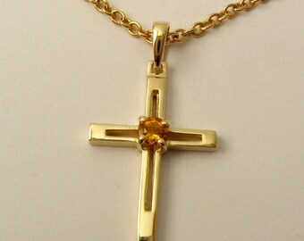 Genuine SOLID 9K 9ct Yellow GOLD Unisex November Birthstone birthday Citrine Cross Pendant