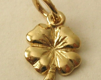 Genuine SOLID 9ct YELLOW GOLD 4 Four Leaf Clover Shamrock charm pendant