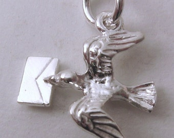 Genuine SOLID 925 STERLING SILVER 3D Bird with Letter Message charm/pendant