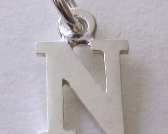 Genuine SOLID 925 STERLING SILVER 3D Initial N Letter Pendant