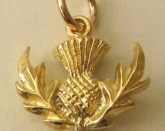 Genuine SOLID 9K 9ct YELLOW GOLD 3D Scottish Thistle charm/pendant