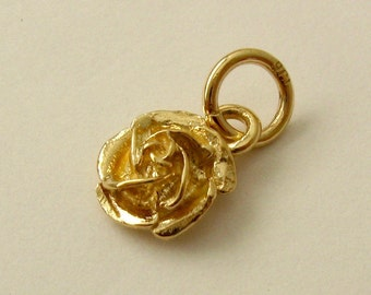 Genuine SOLID 9ct YELLOW GOLD English Rose charm pendant