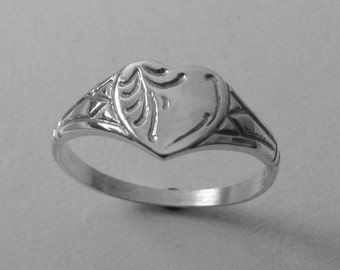 Genuine SOLID 925 Sterling Silver Heart Signet Ring Size J/5 to Q/8.5 Same Price