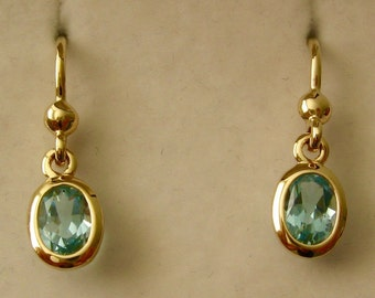 Genuine SOLID 9K 9ct YELLOW GOLD March Birthstone Aquamarine Dangle Drop Earrings