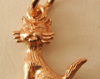 Genuine SOLID 9K 9ct ROSE GOLD 3D Cat Animal charm/pendant