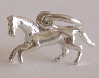 Genuine SOLID 925 STERLING SILVER 3D Horse Animal charm/pendant