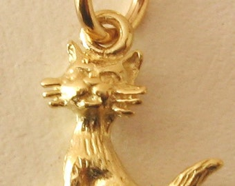 Genuine SOLID 9ct YELLOW GOLD Cat charm pendant