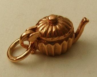 Genuine SOLID 9K 9ct ROSE GOLD 3D Teapot charm/pendant