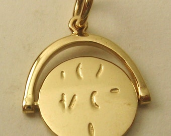 """Genuine SOLID 9K 9ct YELLOW GOLD Spinning """" I Love You """" Love Valentine Wedding charm/pendant"""