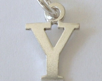 Genuine SOLID 925 STERLING SILVER 3D Initial Y Letter Pendant