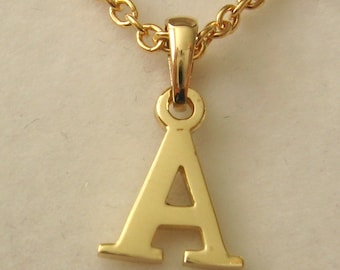 Genuine SOLID 9K 9ct YELLOW GOLD 3D Initial A Letter Pendant