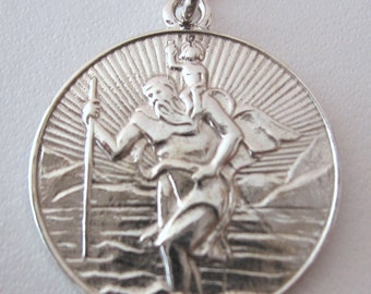 Genuine SOLID 925 STERLING SILVER St Saint Christopher Pendant