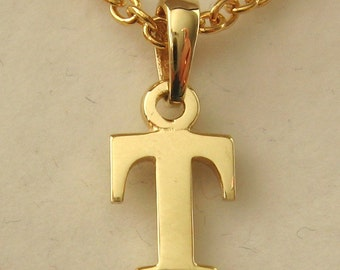 Genuine SOLID 9K 9ct YELLOW GOLD 3D Initial T Letter Pendant
