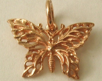 Genuine SOLID 9K 9ct ROSE GOLD 3D Filigree Butterfly Animal charm/pendant