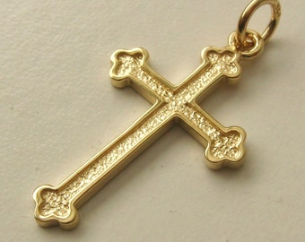 Genuine SOLID 9ct YELLOW GOLD 3D Cross Pendant Gift