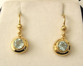 Genuine SOLID 9K 9ct YELLOW GOLD March Birthstone Aquamarine Dangle Earrings