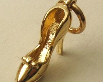 Genuine SOLID 9K 9ct YELLOW GOLD 3D High Heel Shoe charm/pendant