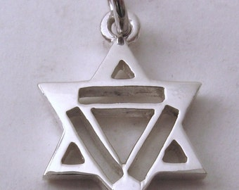 Genuine SOLID 925 STERLING SILVER 3D Star of David charm/pendant