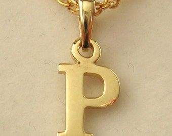 Genuine SOLID 9K 9ct YELLOW GOLD 3D Initial P Letter Pendant