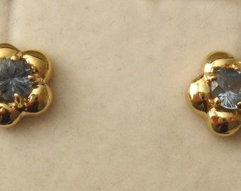 Genuine SOLID 9K 9ct YELLOW GOLD  March Birthstone Aquamarine Stud Earrings Birthday Gift
