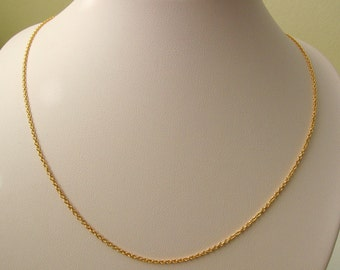 Genuine Solid 9ct Yellow Gold Fine Cable Chain Necklace with PARROT CLASP 50 cm Length