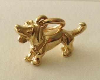 Genuine SOLID 9K 9ct YELLOW GOLD 3D Dachshund Dog Animal charm/pendant