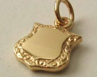 Genuine SOLID 9K 9ct YELLOW GOLD Double Sided Shield  Pendant