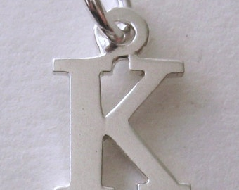 Genuine SOLID 925 STERLING SILVER 3D Initial K Letter Pendant